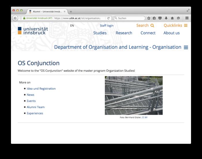 Screenshot of the new Alumni landing page